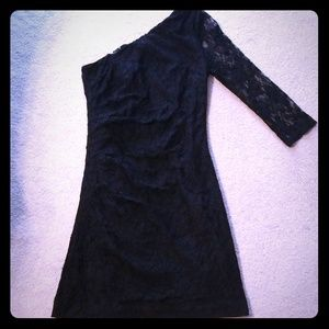 Size 6 Black Lace One shoulder Express dress
